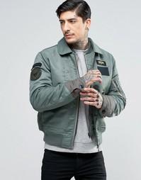 Куртка-пилот с нашивками и вставкой на воротнике Schott Flight - Зеленый