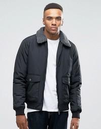 Куртка-пилот с воротником борг Threadbare - Черный