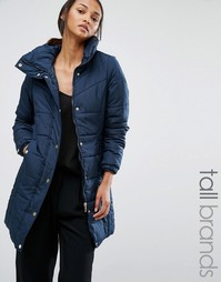 Утепленное пальто с воротником-трубой Vero Moda Tall - Темно-синий