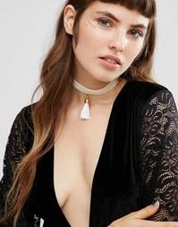 Ожерелье-чокер кремового цвета с кисточкой Johnny Loves Rosie - Кремовый