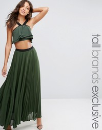 Плиссированная юбка макси с контрастным поясом True Decadence Tall - Зеленый