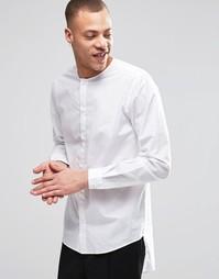 Белая рубашка классического кроя без воротника с полами Weekday Grimm - Белый