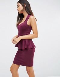 Платье мини с глубоким вырезом спереди и баской AX Paris - Фиолетовый