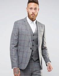 Пиджак скинни в решетчатую клетку ASOS - Серый