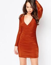 Платье с V-образным вырезом и оборкой AX Paris - Красный