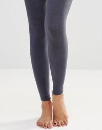 Вязаные колготки на флисовой подкладке без носка Plush - Серый