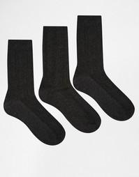 3 пары серых носков вязки косичкой Lovestruck - Серый