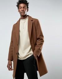 Коричневое пальто‑кокон из смешанной шерсти ASOS - Коричневый