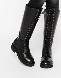 Массивные кожаные высокие сапоги на шнуровке Park Lane - Черный