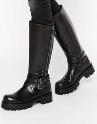 Массивные кожаные высокие сапоги с ремешками Park Lane - Черный