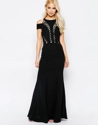 Платье макси с открытыми плечами и отделкой по шнуровку Jarlo - Черный