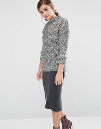 Джемпер с высокой горловиной и спущенными петлями по бокам Fashion Union - Серый