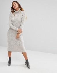 Фактурное платье макси с отворачивающимся воротом Fashion Union - Серый