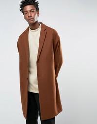 Темно-рыжее полушерстяное пальто ASOS - Коричневый