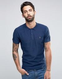 Синяя футболка-поло слим в фактурную полоску Farah Knitted - Синий