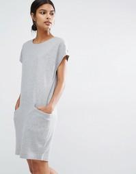 Шерстяное платье с oversize-карманами Y.A.S Evita - Серый