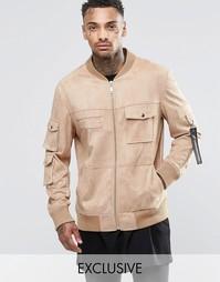 Куртка в стиле милитари из искусственной замши Underated - Stone
