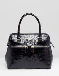 Кожаная сумка-тоут с крокодиловой отделкой Modalu - Темно-синий