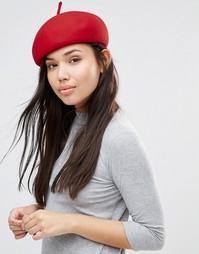 Структурированный берет из 100% шерсти 7X - Красный