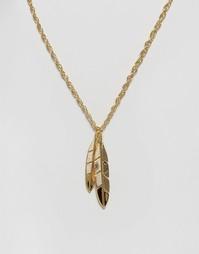 Золотистое ожерелье с подвеской-перьями Mister - Золотой