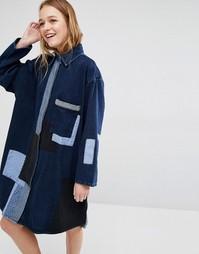 Джинсовое платье‑рубашка с нашивками Waven Jonna - Синий