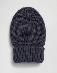 Шапка-бини в крупный рубчик с отворотом Hat Attack - Темно-синий
