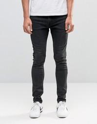 Серые супероблегающие джинсы Weekday - Черный