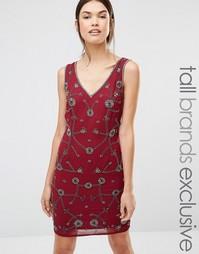 Цельнокройное платье с V-образным вырезом и отделкой Maya Tall - Красный