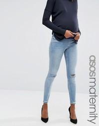 Джинсы скинни для беременных с рваной отделкой на коленях и щиколотках ASOS Maternity Lisbon - Синий