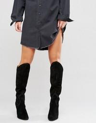 Высокие замшевые сапоги на каблуке в стиле вестерн ALDO Norerwen - Черный