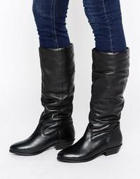 Свободные кожаные сапоги на плоской подошве Office Hazel - Черный
