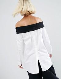 Топ с открытыми плечами и контрастной вставкой в рубчик ASOS WHITE - Белый