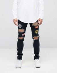 Синие джинсы с нашивками и рваной отделкой Dirty Denim - Темно-синий