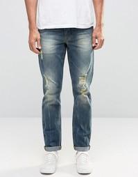 Выбеленные рваные узкие джинсы стретч ASOS - Синий