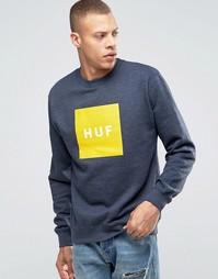 Свитшот с принтом логотипа HUF - Темно-синий
