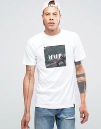 Футболка с квадратным камуфляжным принтом с логотипом HUF - Белый