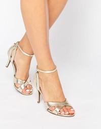 Сандалии на каблуке со змеиным узором Head Over Heels By Dune Maddie - Золотой