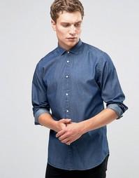 Рубашка из ткани шамбре Jack & Jones Premium - Темно-синий
