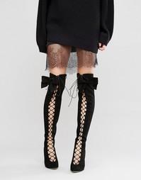 Ботфорты со шнуровкой ASOS KARI - Черный