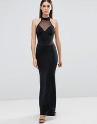 Платье макси с халтером и сетчатыми вставками Sistaglam - Черный