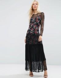 Платье макси с плиссировкой, кружевом и цветочным принтом ASOS PREMIUM - Мульти