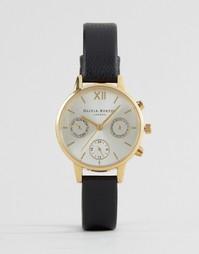 Часы с черным кожаным ремешком и хронографом Olivia Burton OB15CGM62 - Золотой