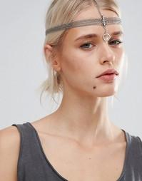 Украшение для волос в восточном стиле с цепочками Pieces - Серебряный