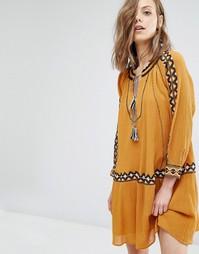 Платье с вышивкой Ba&sh Salma - Желтый Ba&Sh