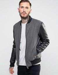 Шерстяная куртка-пилот с рукавами из искусственной кожи Only & Sons - Черный