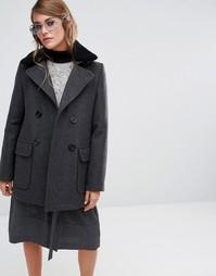 Пальто с воротником из овечьей шерсти Gloverall Reefer - Серый