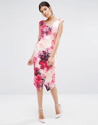 Платье-футляр с принтом и юбкой с запахом Coast Adra - Мульти