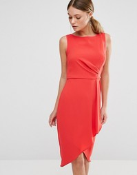 Платье с драпировкой и запахом на юбке Coast Drew - Красный