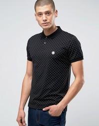 Черная футболка‑поло узкого кроя в горошек Pretty Green - Черный