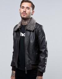 Кожаная куртка со съемным воротником из искусственного меха Schott - Коричневый
